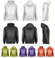 Set of different colored male hoodies vector image