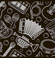 musical instrument seamless monochrome pattern vector image