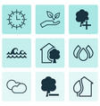 set of 9 ecology icons includes cloud cumulus vector image
