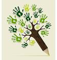Eco friendly pencil Tree hands vector image