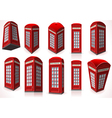 Set of English Red Telephone Cabin vector image