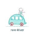 race driver sits on the machine vector image