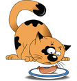 Cartoon cat eating sausage vector image vector image