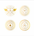 Set of Golden Decorative Circle Line Art Frames vector image