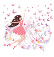 abstract floral design of cute girl with vector image