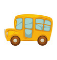 cartoon yellow bus with big windows islated vector image