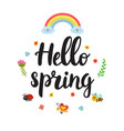 hello spring quote with decorative floral vector image
