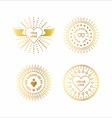 Set of Golden Decorative Circle Line Art Frames vector image
