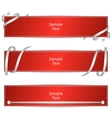 Set of three horizontal banners with red ribbons vector image