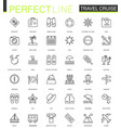 travel cruise thin line web icons set outline vector image