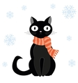 Cat and snow vector image