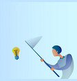 abstract business man catch light bulb with vector image