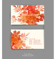 template business card with autumn leaves vector image vector image