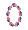 Number 0 made of USA flags in form of candies vector image vector image