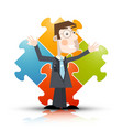 business man with puzzle on background - vector image