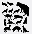 German shepherd pet dog silhouette vector image