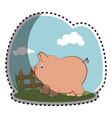 piggy character funny icon vector image