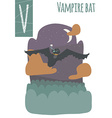 vertical of vampire bat with colorful background vector image