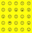 Circle face icons on yellow background vector image