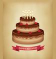 Background with birthday chocolate cake vector image