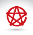 Hand drawn pentagram icon scanned and brush vector image