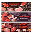 banners with pictures of meat brochure design vector image