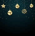 Christmas Dark Background with Golden Baubles vector image
