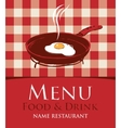 menu with a frying pan and fried eggs vector image