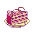piece of cake on plate pie isolated dessert on vector image