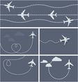Plane flight - dotted trace of the airplane vector image