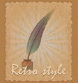 retro style poster old feather and inkwell vector image