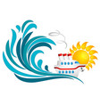 sun sea wave and cruise ship vector image