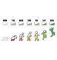 Weekly working life evolution phone signal vector image