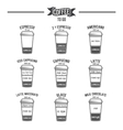 Hot coffee to go drinks recipes icons set vector image