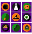Halloween flat icons with holiday symbols vector image