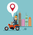 woman motorcycle location urban background vector image