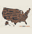 united states of america map print poster vintag vector image vector image