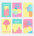 ice cream posters banners and cards in flat style vector image