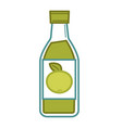 natural organic green apple juice in glass bottle vector image
