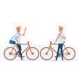 Hipster young man with bicycle and coffee vector image