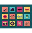 Flat Long Shadowed Hipster icons vector image