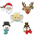 Merry Holiday Character Faces Set vector image
