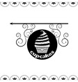 Signboard of tasty cupcakes for holidays and parti vector image