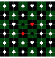 Card Suits Green Black Chess Board Background vector image