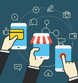 Digital commerce Online shopping with modern vector image vector image