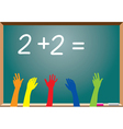 blackboard and raised hands vector image