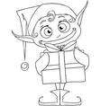 Christmas Elf Holding A Present Coloring Page vector image
