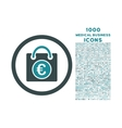 Euro Shopping Bag Rounded Icon with 1000 Bonus vector image