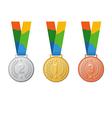 gold silver bronze sport medal vector image