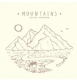 Mountains sketch nature vector image